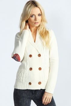 Tilly Cable Cardigan With Tartan Elbow Patches #plaid Get 7% Cash Back http://www.studentrate.com/all/get-all-student-deals/Boohoo-com-Student-Discounts--/0