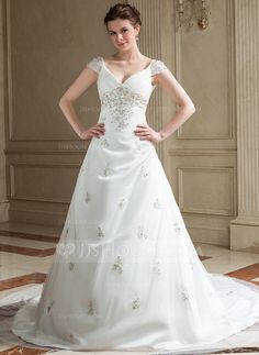 Wedding Dresses - $189.99 - A-Line/Princess V-neck Chapel Train Satin Tulle Wedding Dress With Embroidered Ruffle Beading (002011655) http://jjshouse.com/A-Line-Princess-V-Neck-Chapel-Train-Satin-Tulle-Wedding-Dress-With-Embroidered-Ruffle-Beading-002011655-g11655