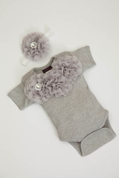 Baby Girl Onesie Set Short Sleeve Cotton Grey by jacqueline225, $25.00