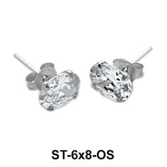 Basic Round Crystal Silver Stud Earrings. #earpiercing #jewelrypiercing #bodypiercing #piercing