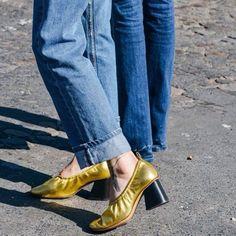 Céline ballet shoes and classic denim.