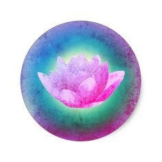 purple lotus flower art classic round sticker - craft supplies diy custom design supply special