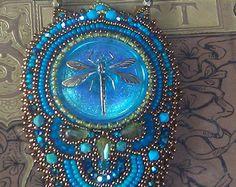 Art Nouveau Art Deco styleVintage Blue Button by KiowaRoseBeads