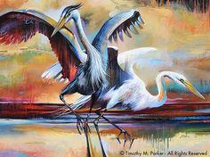 Abstract Bird Art  Contemporary Egret Painting by BirdArt on Etsy