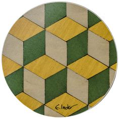 4 Geometric Yellow Coasters Green Coaster Geometric Coaster Modern... (20 CAD) via Polyvore featuring home, kitchen & dining, bar tools, green coasters and dessous
