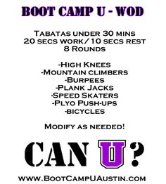 Tabata Workout  www.bootcampUaustin.com