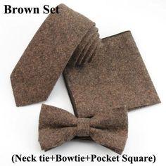 Men's Solid Color Soft Cotton 5.5cm Tie + Bowtie + Pocket Square Set -  6 Colours Guys/Boy Fashion mens bowtie wedding classy outfit  For Men Internet Bow Ties Product Sale Online Website Shop Buy Sell Store