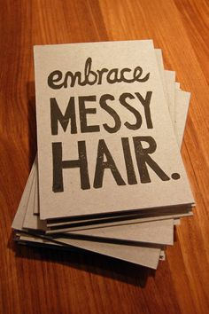 Embrace Messy Hair - Lino Print $4.50