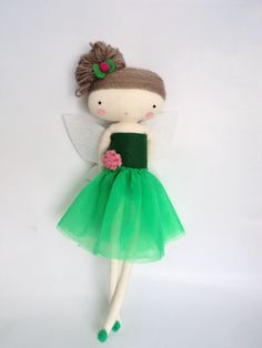 tinker bell  rag doll - art doll  fairy tale cloth doll green tulle made to order. $35.00, via Etsy.