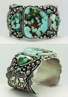 Breloques, Bracelets Breloques Larry M Chavez .925 Argent Sterling Turquoise & Lapis Navajo Save 50-70%