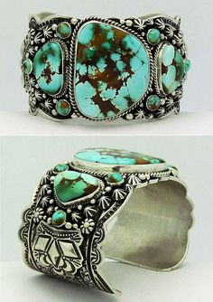 Cuff | Darryl Becenti.  Sterling silver and Royston Turquoise || Source ~ http://www.ebay.com/itm/Darryl-Becenti-Royston-Turquoise-Sterling-Silver-Bracelet-/201028063910