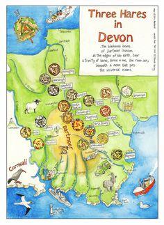 Three Hares Map of Devon by Dru Marland on Etsy Devon Map, Devonshire England, The Risen, Rabbit Tattoos, Roger Rabbit, March Hare, Momma Bear, Rabbit Art, Dartmoor