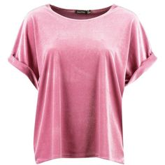 Boohoo Brooke Velvet Oversized T-Shirt ($13) ❤ liked on Polyvore featuring tops, t-shirts, oversized t shirt, bralet crop top, velvet crop top, off-the-shoulder tops and oversized pink t shirt