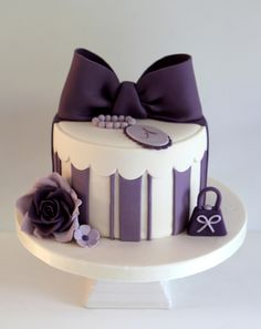 Purple & White hat box cake