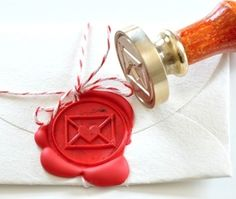 I've always wanted to seal letters with wax. Love this. :: Love Letter Gold Plated Wax Seal Stamp  Sealing Wax