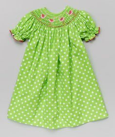 Another great find on #zulily! Green & White Flamingo Zoe Bishop Dress - Infant, Toddler & Girls by Marjorie's Daughter #zulilyfinds