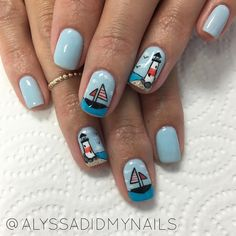 Make an original manicure for Valentine's Day - My Nails Beach Nail Designs, Diy Nail Designs, Nail Manicure, Diy Nails, Opal Nails, Nautical Nails, American Nails, Bright Summer Nails, Beach Nails