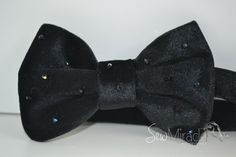 Velvet Bow tie, Black colour, Decorated with shiny beads, Black Velvet bow tie, Men's accessories, Men's bow tie, wedding, gift for men