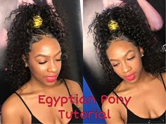 High Egyptian Ponytail Tutorial [Video] - Black Hair Information Hair Ponytail Styles, Weave Ponytail Hairstyles, Sleek Ponytail, Braided Hairstyles Tutorials, My Hairstyle, Braided Ponytail, Man Ponytail, Easy Black Hairstyles, Egyptian Hairstyles