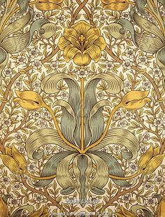 Lily wallpaper, from an album of wallpaper samples and specimens, by William Morris (1834-96), published by Morris & Co, manufacturated by Jeffrey & Co. Print. London, England, late 1873.