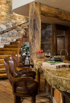 Montana mountain timber home wet bar - via @Christin Miller | Maverick Style - #WesternHome
