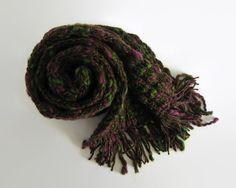 Scarf Knitted in Tweed Purple Wool by knitBranda on Etsy