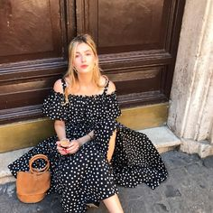 Camille Charrière wears Dolce & Gabbana Polka Dot Cotton Short-Sleeved Dress. Shop now on Style.com