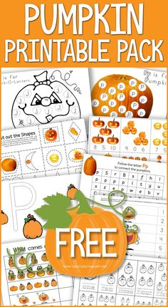 This FREE Pumpkin Printable Pack is great for Tot School, Preschool and Kindergarten. Preschool Learning Activities, Homeschool Kindergarten, Preschool Themes, Preschool Lessons, Preschool Classroom, Autumn Activities, Preschool Theme Fall, Halloween Preschool Activities, Fall Activities For Toddlers