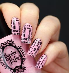 Powder Perfect 'Isolde' (a light pink polish with dark shimmer flecks and tiny holo glitter) stamped using MoYou London Alice in Wonderland 01 plate and black polish ~ by Wasting Lifestyle