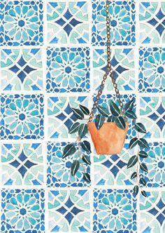 Moroccan Tiles / Botanical Print / Home Decor / Moroccan / Bathroom Wall Decor / Housewarming Gift / Botanical Illustration / Dorm Wall Art Moroccan Tiles, Moroccan Bathroom, Moroccan Lanterns, Moroccan Decor, Botanical Illustration, Illustration Art, Illustrations, Botanical Prints, Art Inspo