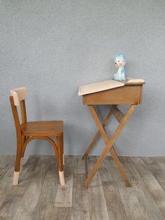 Pupitre vintage pliant et sa chaise Baumann : Chambre d'enfant, de bébé par perles-de-chine