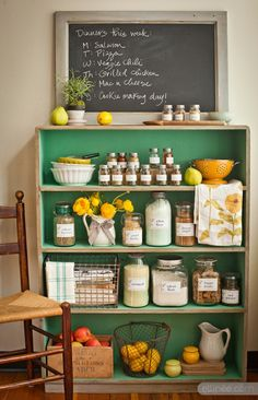 kitchen pantry made from bookshelf I love these colors together. This may be an interesting thing to do with the space where my fridge used to be