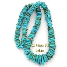 Approximately 15mm tapering to 6/7mm Graduated FreeForm Slice Kingman Turquoise Designer 16 Inch Bead Strand Jewelry Making Supplies GFF17. Deep Teal coloring with green inclusions and medium matrix throughout. These Graduated FreeForm Turquoise bead strands are an excellent and economical opportunity to offer Authentic American Kingman Turquoise Jewelry Designs at a fraction of the cost for calibrated bead Strands