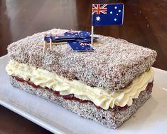 LAMINGTON CAKE Lamington Cake Recipe, Coconut Icing, Full Fat Milk, Cooking Measurements, Chocolate Icing, Strawberry Jam, Aussies, Confectioners Sugar