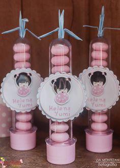 Tubetes decorados tema kokeshi | Festa infantil | Decoração by Mariah festas #tubeteskokeshi