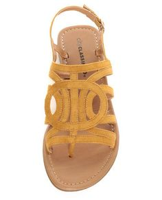 City Classified Tada Mustard Yellow Loopy Strapped Thong Sandals #luluslove #teal