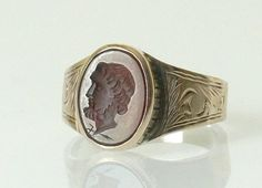 Antique Victorian Silver Gold Carnelian Signet Ring