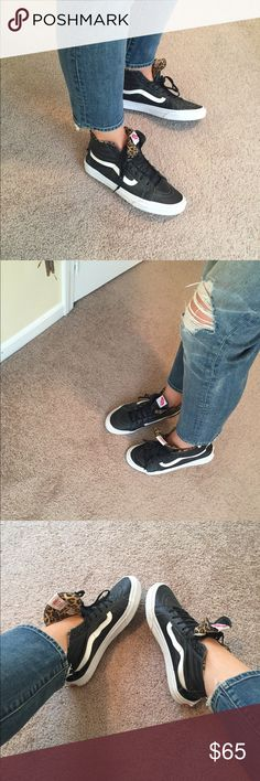 Black Leather Vans (Cheetah) Jennifer Lawrence has these, and that's why I bought them, butttttt I sooo can't rock them. They are badass! Need to go to good home. Women 10.5, Men 9! Worn mayyyybe once. Make an offer. Vans Shoes Sneakers