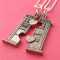 Doctor Who TARDIS Friendship Necklaces from Spiffing Jewelry| If your name is peyton, then I want you to know that this is your present for Christmas. :)