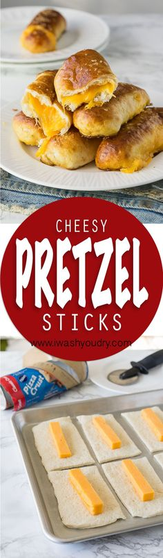 These Cheesy Pretzel Sticks are soft pretzels stuffed with cheese and just 5 sim. These Cheesy Pretzel Sticks are soft pretzels stuffed with cheese and just 5 simple ingredients. Appetizers For Party, Appetizer Recipes, Snack Recipes, Dessert Recipes, Cooking Recipes, Desserts, Quick Appetizers, Skillet Recipes, Cooking Tools