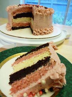 Neapolitan Cake: strawberry, chocolate, & vanilla cake layers