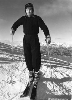 "Swiss ski instructor Walter Haensli in his first winter at Mt. Ruapehu in New Zealand, 1949.  Haensli's two ski runs in the 1949 New Zealand Championships were said to be ""the finest exhibition of slalom running ever to be seen in New Zealand""."