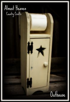 Primitive Toilet Paper Holder and Cabinet