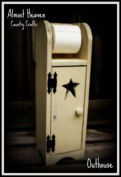 Primitive Toilet Paper Holder and Cabinet