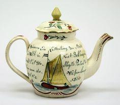 Afbeeldingsresultaat voor delfts aardewerk, 1722 English Pottery, Antique Pottery, Seafarer, Delft, Teapots, Tea Time, Nostalgia, 18th, Ceramics