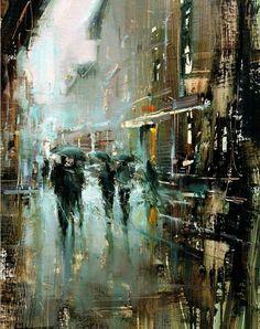 Awesome Oil painting by Tibor Nagy Fine Art Urban Landscape, Landscape Art, Landscape Paintings, Oil Paintings, City Painting, Light Painting, City Art, Urban Art, Art Oil