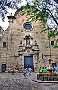 Church Courtyard  Sant  Felip Neri,  Barcelona, Catalonia