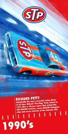 I was recently commissioned by STP to mark their Anniversary in celebrating six decades of pioneering, motorsport success. These banners will form the stand next to Bloodhound at Autosport International in January - and will each be 2 metres hi… Oregon Ducks, Nascar Racing, Auto Racing, Richard Petty, King Richard, Nascar Champions, Automobile, Classic Race Cars, Car Drawings