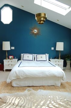 Blue feature wall bedroom bedroom feature wall paint bedroom accent wall co Blue Feature Wall Bedroom, Blue And Gold Bedroom, Accent Wall Bedroom, Blue Rooms, White Bedroom, Blue Walls, White Bedding, Feature Walls, Accent Walls