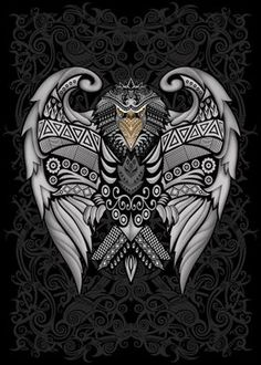 Mayan Tattoos, Tribal Tattoos, Black And Gold Aesthetic, Chicano Art Tattoos, Half Sleeve Tattoos For Guys, Eagle Print, Warcraft Art, Canvas Art, Canvas Prints